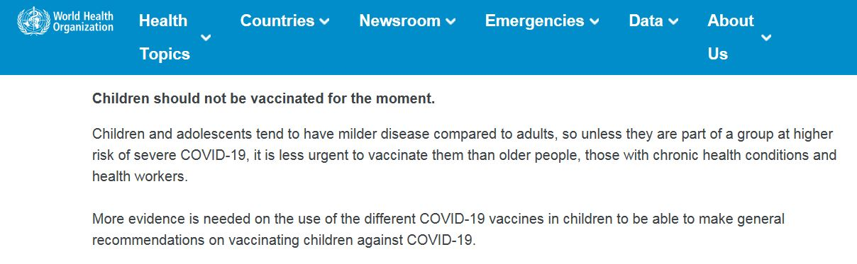 Children should not be vaccinated for the moment